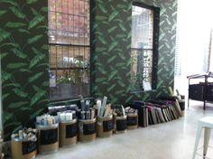 Our store atrium got a jungle makeover with Banana Leaf wallpaper Atrium, Banana, Curtains, Wallpaper, Store, News, Home Decor, Blinds, Decoration Home