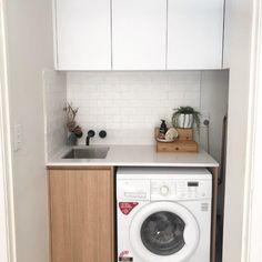Laminex Sublimeteak, 20mm stone Laundry Cabinets, Washing Machine, Home Appliances, Stone, House, Ideas, House Appliances, Rock, Home