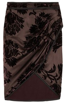 Beautiful Gucci!    Gucci | Velvet-patterned brushed silk-blend satin wrap skirt | NET-A-PORTER.COM