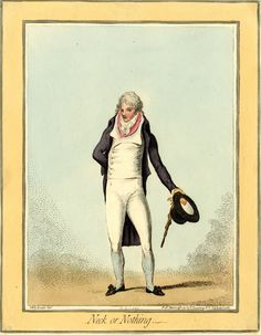 """""""Neck or Nothing"""" by James Gillray after Georgiana Keate, 1792. From the British Museum description: A satire on high collars and voluminous neck-cloths. A good-looking young man stands full face ... his coat ... is open to display a double-breasted waistcoat with wide lapels, within which is another collar and a swathed neckcloth tied in a bow. The high collar of his tail-coat adds to the  numerous swathings round his neck ... He wears striped stockings and low shoes with rosettes."""