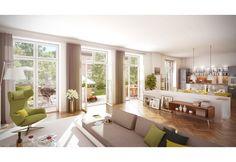 Neue, bodentiefe Fenster in hochwertiger Holzqualität und Fischgrätparkett in Eiche verleihen diesen Eigentumswohnungen das gewisse Etwas.
