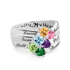 """She always said, """"One day you'll have a daughter just like you,"""" and wow, was she ever right. Give your mom a birthday gift from all of her precious grandchildren with this Sterling Birthstone Family Heart ring.  https://www.thingsremembered.com/sterling-silver-birthstone-heart-family-ring/product/715560?fcref=pinterest"""
