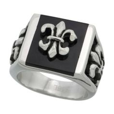 Surgical Steel Fleur de lis Ring 1 inch long, Sizes 9 - 15 Sabrina Silver. $12.95