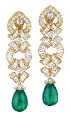 David Webb Earrings ~ Emeralds & Diamonds marvelously set in 18k gold. (Via Phillips)