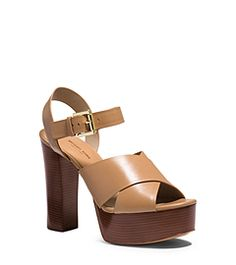 Dara Leather Platform Sandal by Michael Kors