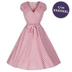 Swing Dawn jurk met witte polkadot print pastel roze - Vintage, 50's, Rockabilly