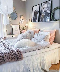 Chambre cozy idées rose gris
