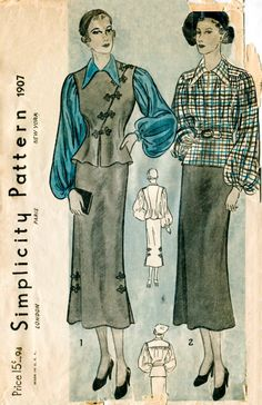 1930s 30s Vintage Sewing Pattern three piece suit dress frog closure lantern…