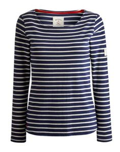Joules Womens Striped Jersey Top, Hope Stripe Navy.                     Our much-loved striped Harbour jersey top is back but with long sleeves for beating the winter chill.  Layer up and wear it anywhere.
