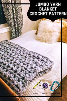 This fluffy throw blanket is made from beautiful jumbo yarn and a size U crochet hook, making it a fast and easy make! Chunky Crochet Blanket Pattern Free, Quick Crochet Blanket, Crochet Blanket Border, Free Crochet, Crochet Blankets, Crochet Patterns, Simply Crochet, Knitted Throws, Crochet Afghans