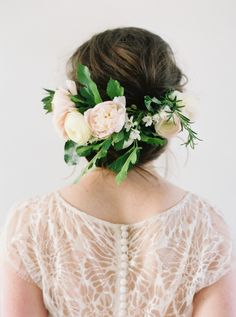Spring flower crown perfection: http://www.stylemepretty.com/2016/05/12/how-to-flower-crown-for-brides/