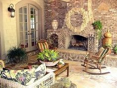 Standout Outdoor Brick Fireplaces...Delectable Decorative Detailing!