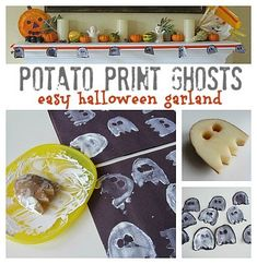 Easy Halloween garland made with potato printed ghosts.