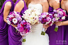 southern floral traditions, purple pink white bridal bouquets