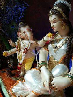Maa parvati with cute little Ganesh Shri Ganesh Images, Shiva Parvati Images, Shiva Hindu, Ganesha Pictures, Hindu Temple, Lord Durga, Ganesh Lord, Jai Ganesh, Jai Hanuman