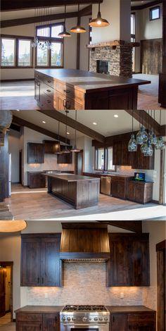 Kitchen Inspirations, Custom Homes of North Idaho, Dark wood cabinets, Gas Range, Kitchen Island, Pacific Northwest, Inland Northwest #RangesKitchen