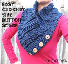 Easy crochet scarf that buttons up one side. Modern and cozy.