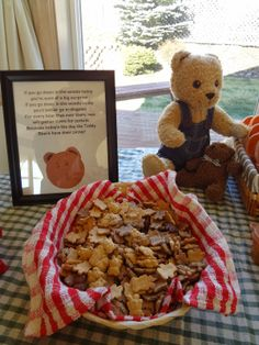 Teddy Bear Picnic Birthday Party: Dollar Tree frames to display Teddy Bear Picnic song lyrics