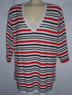 Women's White Stag Plus Pullover Top Red White Blue Light Knit 22W 24W #WhiteStag #KnitTop #Career