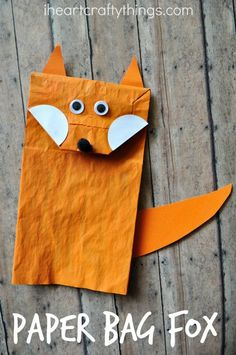 Turn a paper bag into a cute Fox Craft for Kids that makes a fun puppet too.