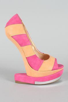 084952fa179f Shoe Republic Grain Stripe Heel Less Curved Wedge