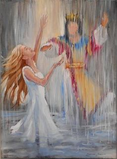 Prophetic Art, Woman with her hands lifted praising King Jesus in the waterfall. Worship Dance, Praise And Worship, Praise Dance, Art Prophétique, Hebrew For Christians, Bride Of Christ, Prophetic Art, Biblical Art, Banner
