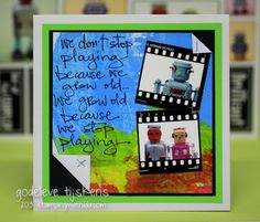 Darkroom Door 'Playing' Quote Stamp DDQS006. Card created by Godelieve Tijskens.