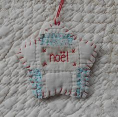 CHRISTMAS Starz Ornament - NOEL - Stitched From Recycled Vintage Quilt Piece