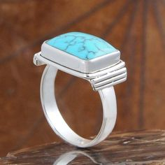 925 SOLID STERLING SILVER  EXCLUSIVE TURQUOISE RING 5.61g DJR10517 SZ-8.5…