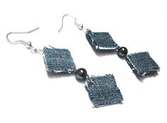 Earrings made from jeans and recycled plastic!