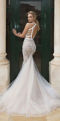 "30 Dany Mizrachi Wedding Dresses - ""Jerusalem"" Collection 2018 ❤ dany mizrachi wedding dresses fit and flare lace open back ❤ See more: http://www.weddingforward.com/dany-mizrachi-wedding-dresses/ #weddingforward #wedding #bride #weddingdresses2018 #bridalgown"
