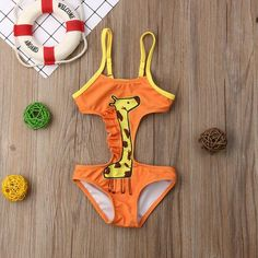 Orange Giraffe Cutout Swimsuit from kidspetite.com!  Adorable & affordable baby, toddler & kids clothing. Shop from one of the best providers of children apparel at Kids Petite. FREE Worldwide Shipping to over 230+ countries ✈️  www.kidspetite.com  #beach #swimwear #swimsuit #infant #newborn #swim #baby #girl Cut Out Swimsuits, Two Piece Swimsuits, One Piece Swimwear, One Piece Swimsuit, Baby Girl Swimwear, Hot Dads, Orange Swimsuit, Baby Girl One Pieces, Swimsuit Material