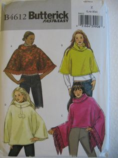 Butterick Misses Womens Poncho Sewing Pattern B4612 by Vntgfindz