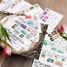 May every piece of mail delight your senses, a heartfelt gift across the miles! ✉️ I had the joy of writing these wedding invitation envelopes for the ever-lovely @outlinedcloth & @marlenevmartinez. The soon-to-be bride put these incredible vintage stamps on them & took the photos! I am in utter awe! They look absolutely gorgeous!  Pen: @tombowusa Fudenosuke