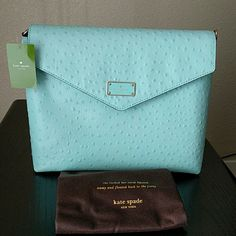 """SALE! Kate Spade Leena Ostrich NWT Kate Spade """"Leena"""" a la vita ostrich bag, NWT. In """"robinegg"""" color, a beautiful light blue for spring! Handle is still wrapped for protection, but it is partial gold chain and partial leather to match the bag. Comes with Kate Spade dust bag. kate spade Bags"""