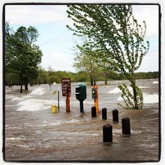 2:48 p.m.  04.30.17. Water laps the rv sites and parking areas at Grand Lake State Park - Bernice. The park is closed today due to the flooding. (KMHM)