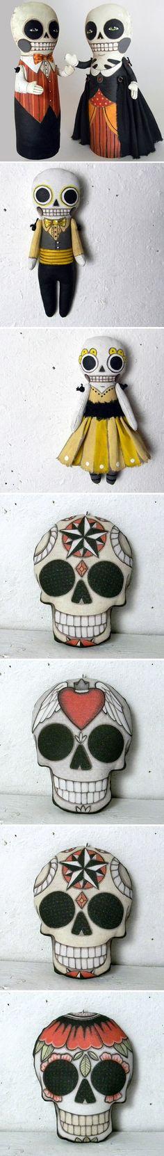 Skeleton Doll-- Day of the Dead Halloween-- Original Contemporary Folk Art    http://www.etsy.com/listing/81588801/skeleton-doll-day-of-the-dead-halloween