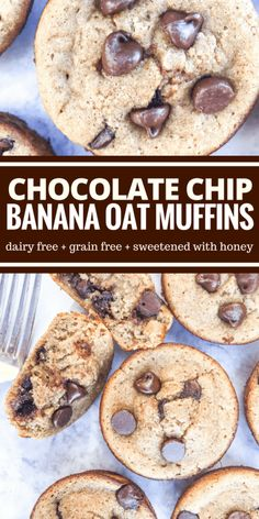 These chocolate chip banana oat muffins are so decadent and yummy like an amazing banana bread! You won't believe they contain no flour or dairy.