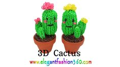 Tutorial for how to make Rainbow Loom Cactus 3D charm Copyright ©2014 Funtastic Ideas by www.ElegantFashion360.com This pattern design also can use for Fun L...