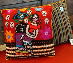 Dia de los Muertos embroidery Pareja Pillow newest Karma Living collection. Now available at 7138802105 at Barrio Antiguo  #Diadelosmuertos #Dayofthedead #Catrina #Pillow #Frida #Marriage #Wedding #FolkArt #HoustonTexas