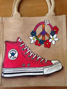 Emily-em Original Bag Designs.... It's all converse and peace and love! Emily-em Original Bag Design