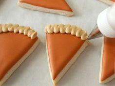 Mini Pumpkin Pie Slice Cookies – The Sweet Adventures of Sugar Belle Pumpkin Pie Cookies Recipe, Cookies Cupcake, Iced Cookies, Royal Icing Cookies, Sugar Cookies, Cookie Recipes, Cookie Icing, Cheesecake Recipes, Cupcakes