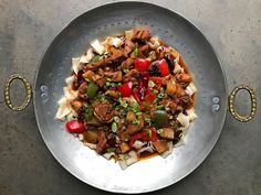 Big Plate Chicken is a stew that gets heat from Sichuan pepper and doubanjiang but also shows its Xinjiang roots with smoky cumin and fat wheat noodles Chili Bean Paste, Asian Recipes, Ethnic Recipes, Asian Foods, Chinese Recipes, Lamb Skewers, Sichuan Pepper, Chicken Plating, Kitchens