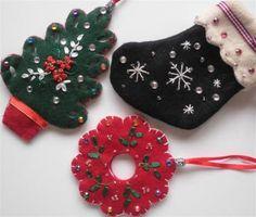 Felt Christmas Ornament Set  - get it on zibbet!
