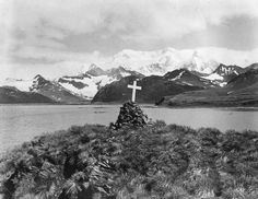 1922: The monument to Irish explorer Sir Ernest Shackleton on the main island of South Georgia. He died of a heart attack and was burried there in 1922, having returned to the spot on the 'Quest', six years after his famous Antarctic Expedition.