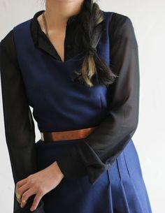 Navy blue dress, sheer black blouse