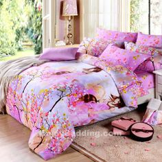 Full queen Size Modern Girls pink and white Bedding Sets - EnjoyBedding.com