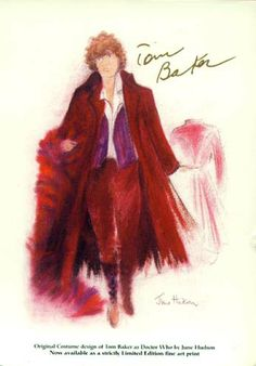 An original June Hudson sketch of Tom Baker's Doctor Who outfit for his final season.