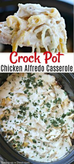 this easy crock pot chicken Alfredo casserole recipe - This Chicken Alfredo pasta in the crock pot is delicious and packed with flavor! Try it today.Try this easy crock pot chicken Alfredo casserole recipe - This Chicken Alfredo pasta in the. Pollo Alfredo, Pasta Alfredo, Alfredo Sauce, Penne Pasta, Pasta Salad, Crockpot Dishes, Crock Pot Cooking, Crock Pot Pasta, Pasta Recipes Crockpot