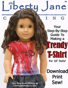 FREE Doll Clothes Pattern - Liberty Jane Trendy T-Shirt. Download, Print, Sew! Make lot's of cute tee's for your American Girl® Doll!